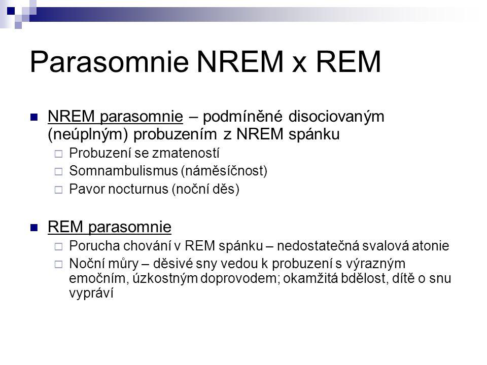 Parasomnie NREM x REM NREM parasomnie – podmíněné disociovaným (neúplným) probuzením z NREM spánku  Probuzení se zmateností  Somnambulismus (náměsíč