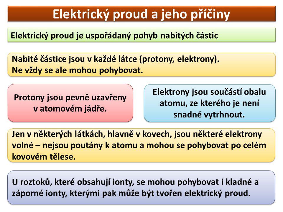 Elektrický proud a jeho příčiny Elektrický proud je uspořádaný pohyb nabitých částic Nabité částice jsou v každé látce (protony, elektrony). Ne vždy s