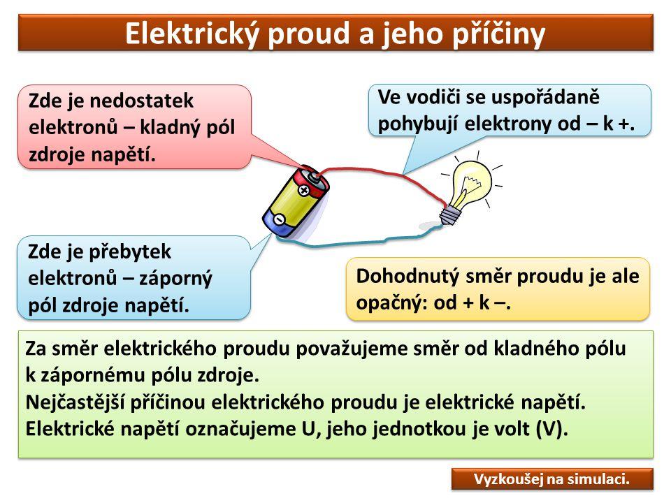 Elektrický proud a jeho příčiny Za směr elektrického proudu považujeme směr od kladného pólu k zápornému pólu zdroje. Nejčastější příčinou elektrickéh