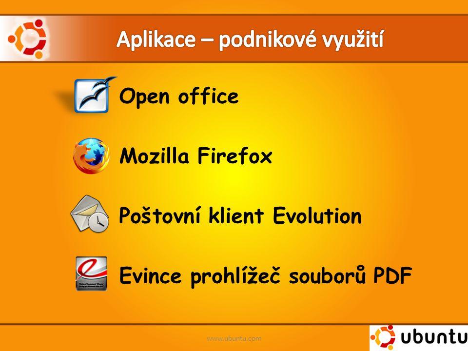 Open office Mozilla Firefox Poštovní klient Evolution Evince prohlížeč souborů PDF www.ubuntu.com