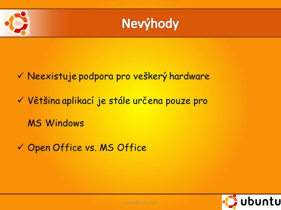 Neexistuje podpora pro veškerý hardware Většina aplikací je stále určena pouze pro MS Windows Open Office vs. MS Office www.ubuntu.com
