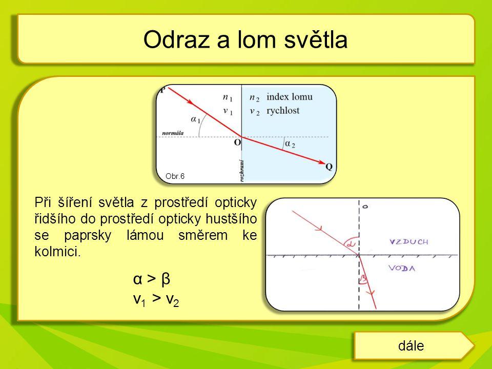 α < β v 1 < v 2 Úplný odraz světla paprsek se šíří z prostředí opticky hustšího do prostředí opticky řidšího při tzv.