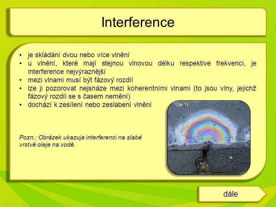 Interference při odrazu světla na CD Interference u vlnění vznikajících ze dvou bodů Interference dále Obr.12 Obr.13