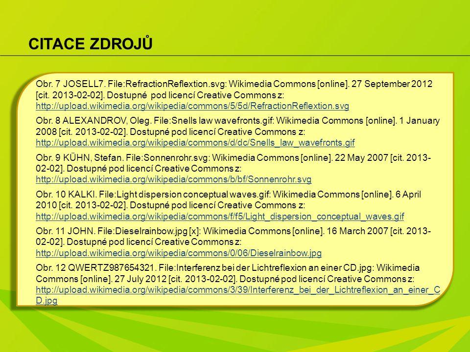 CITACE ZDROJŮ Obr. 7 JOSELL7. File:RefractionReflextion.svg: Wikimedia Commons [online]. 27 September 2012 [cit. 2013-02-02]. Dostupné pod licencí Cre