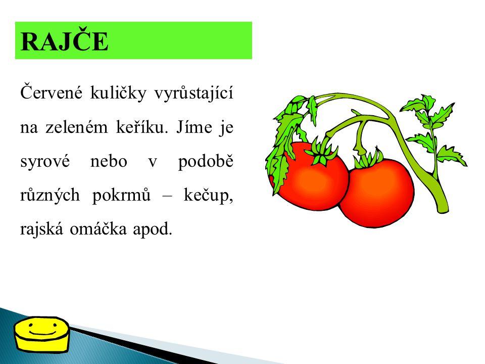 RAJČE Červené kuličky vyrůstající na zeleném keříku. Jíme je syrové nebo v podobě různých pokrmů – kečup, rajská omáčka apod.