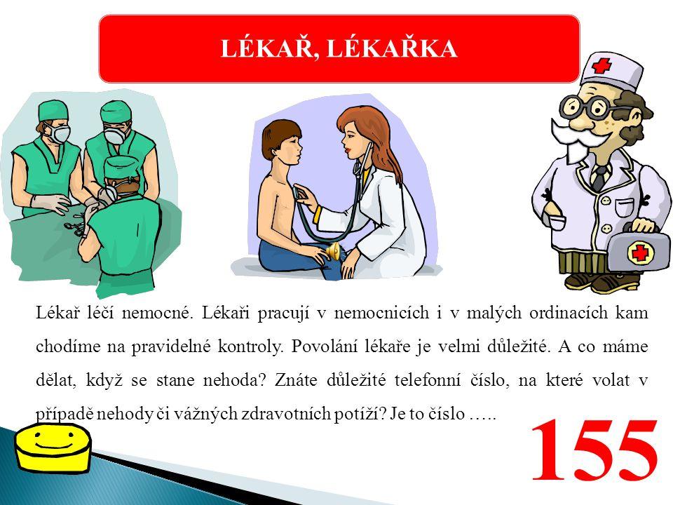 LÉKAŘ, LÉKAŘKA Lékař léčí nemocné.