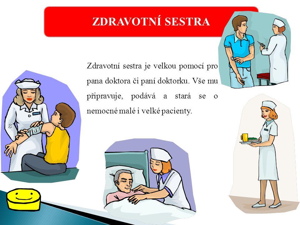 ZDRAVOTNÍ SESTRA Zdravotní sestra je velkou pomocí pro pana doktora či paní doktorku.