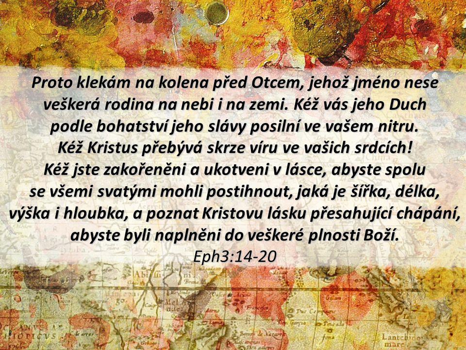 Proto klekám na kolena před Otcem, jehož jméno nese veškerá rodina na nebi i na zemi. Kéž vás jeho Duch podle bohatství jeho slávy posilní ve vašem ni