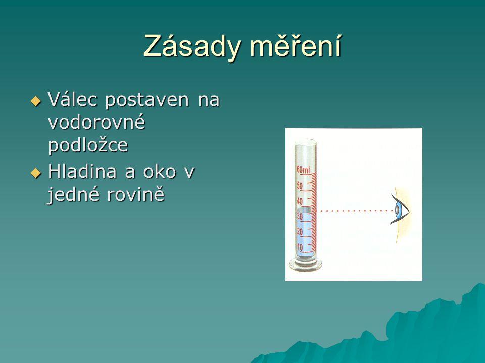 Zásady měření  Válec postaven na vodorovné podložce  Hladina a oko v jedné rovině