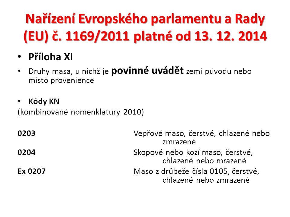 Nařízení Evropského parlamentu a Rady (EU) č. 1169/2011 platné od 13.