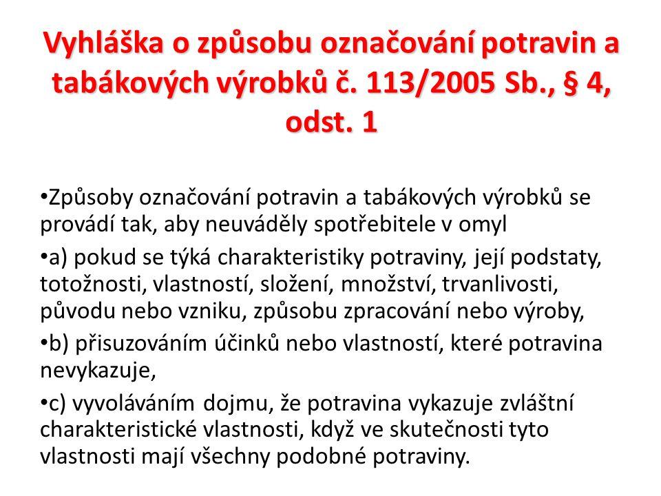 Vyhláška o způsobu označování potravin a tabákových výrobků č.