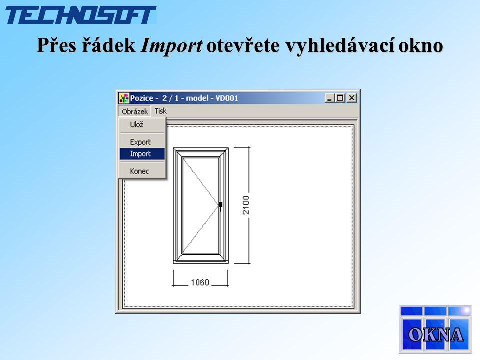 Přes řádek Import otevřete vyhledávací okno