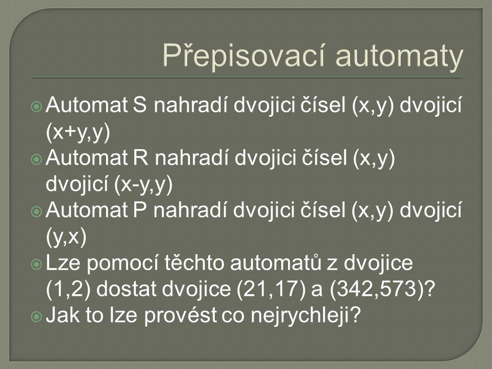 Přepisovací automaty  Automat S nahradí dvojici čísel (x,y) dvojicí (x+y,y)  Automat R nahradí dvojici čísel (x,y) dvojicí (x-y,y)  Automat P nahradí dvojici čísel (x,y) dvojicí (y,x)  Lze pomocí těchto automatů z dvojice (1,2) dostat dvojice (21,17) a (342,573).