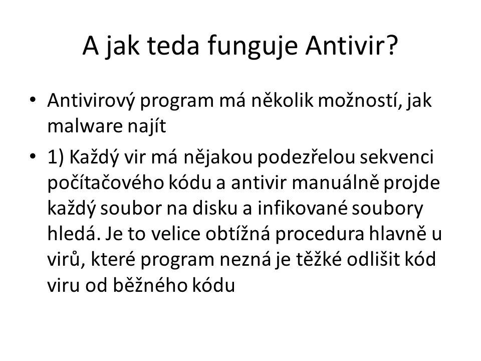 A jak teda funguje Antivir? Antivirový program má několik možností, jak malware najít 1) Každý vir má nějakou podezřelou sekvenci počítačového kódu a