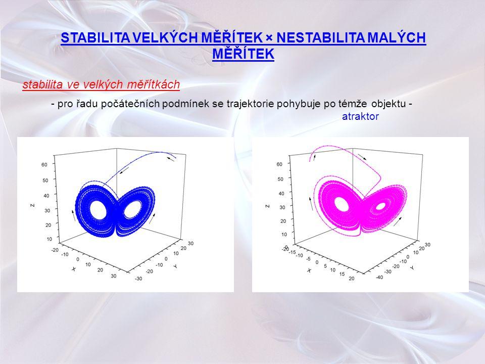 stabilita ve velkých měřítkách - pro řadu počátečních podmínek se trajektorie pohybuje po témže objektu - atraktor STABILITA VELKÝCH MĚŘÍTEK × NESTABI