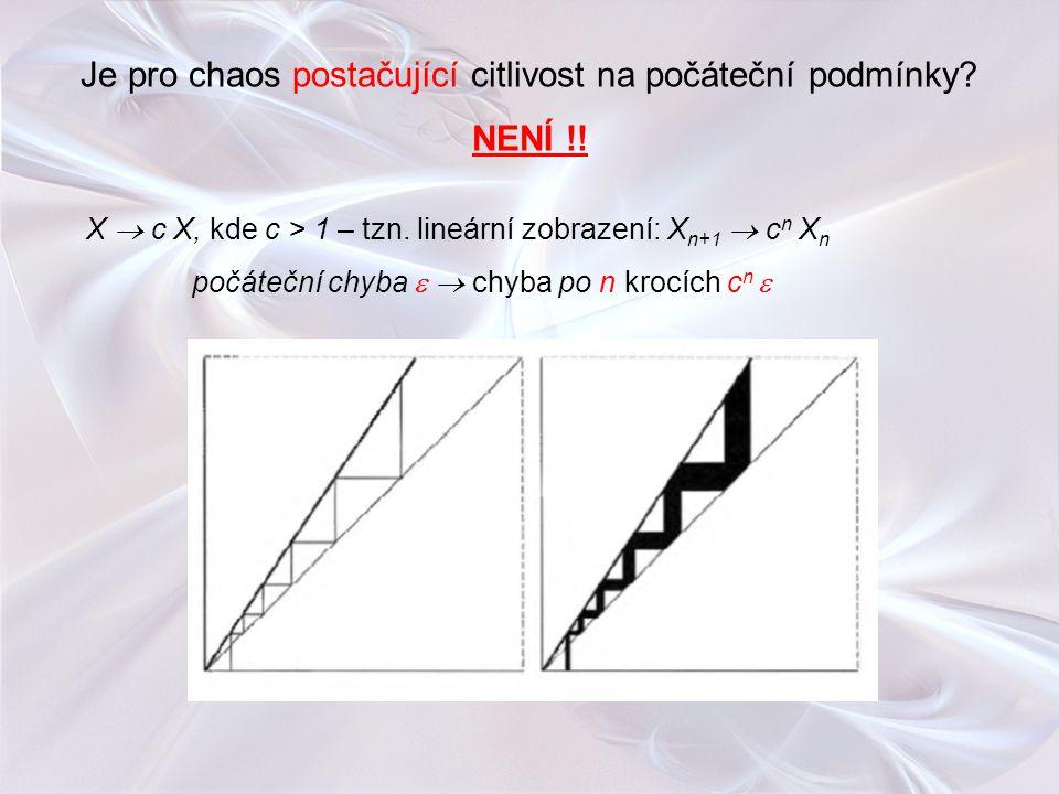 Je pro chaos postačující citlivost na počáteční podmínky? NENÍ !! X  c X, kde c > 1 – tzn. lineární zobrazení: X n+1  c n X n počáteční chyba   ch