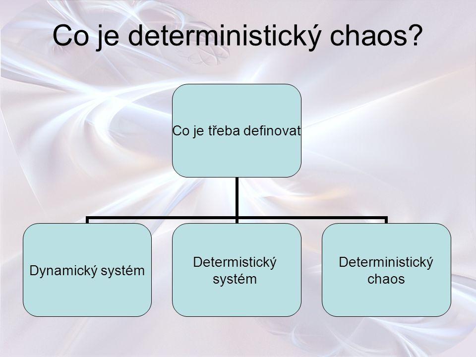 Co je deterministický chaos? Co je třeba definovat Dynamický systém Determistický systém Deterministický chaos