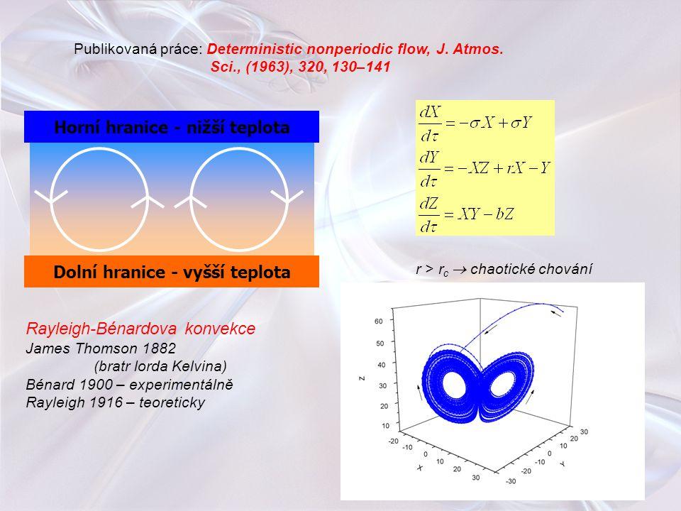 Publikovaná práce: Deterministic nonperiodic flow, J. Atmos. Sci., (1963), 320, 130–141 Horní hranice - nižší teplota Dolní hranice - vyšší teplota Ra