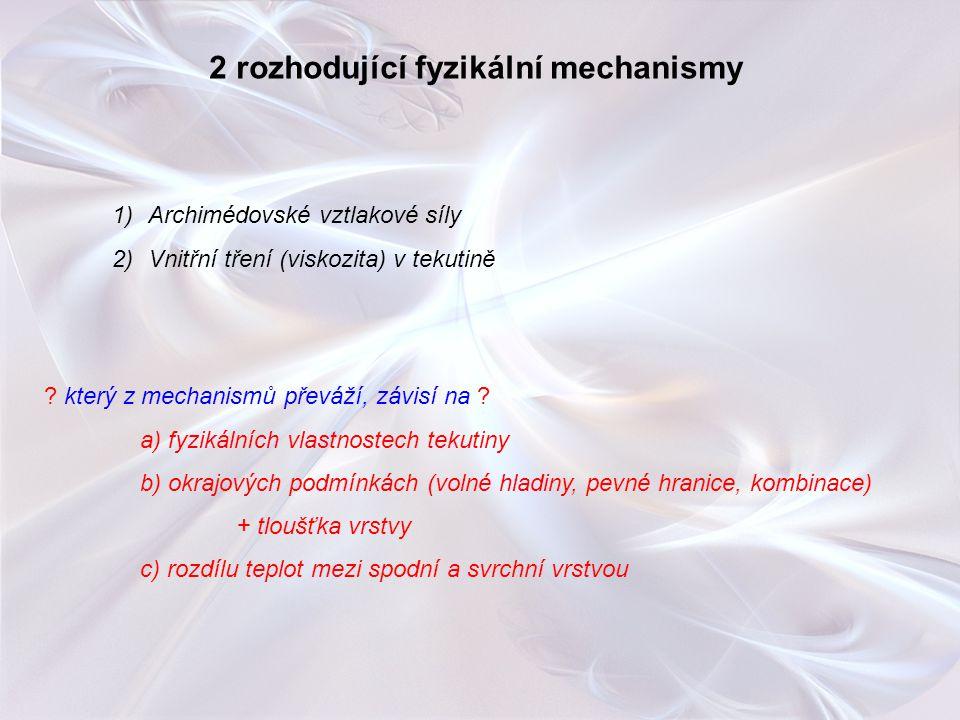 2 rozhodující fyzikální mechanismy 1)Archimédovské vztlakové síly 2)Vnitřní tření (viskozita) v tekutině ? který z mechanismů převáží, závisí na ? a)