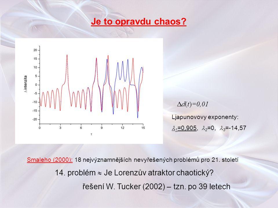  d(t)=0,01 Smaleho (2000): 18 nejvýznamnějších nevyřešených problémů pro 21. století 14. problém  Je Lorenzův atraktor chaotický? řešení W. Tucker (