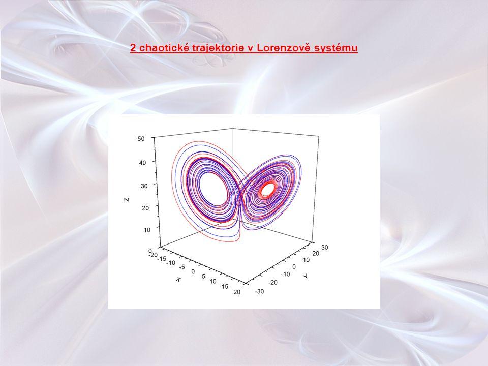 2 chaotické trajektorie v Lorenzově systému