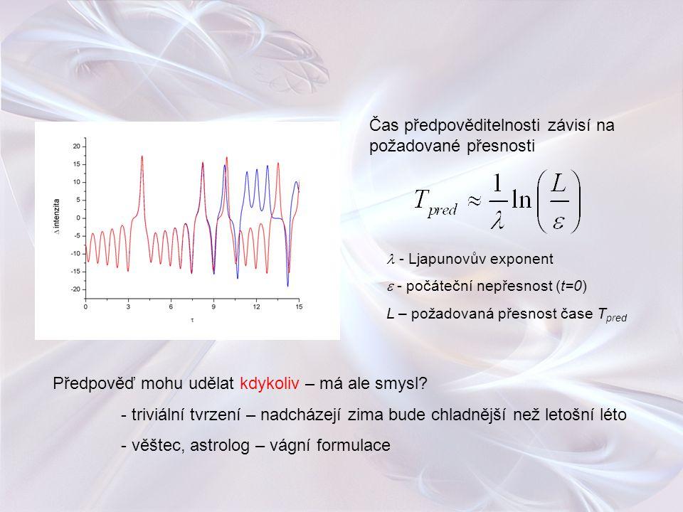 Čas předpověditelnosti závisí na požadované přesnosti - Ljapunovův exponent  - počáteční nepřesnost (t=0) L – požadovaná přesnost čase T pred Předpov