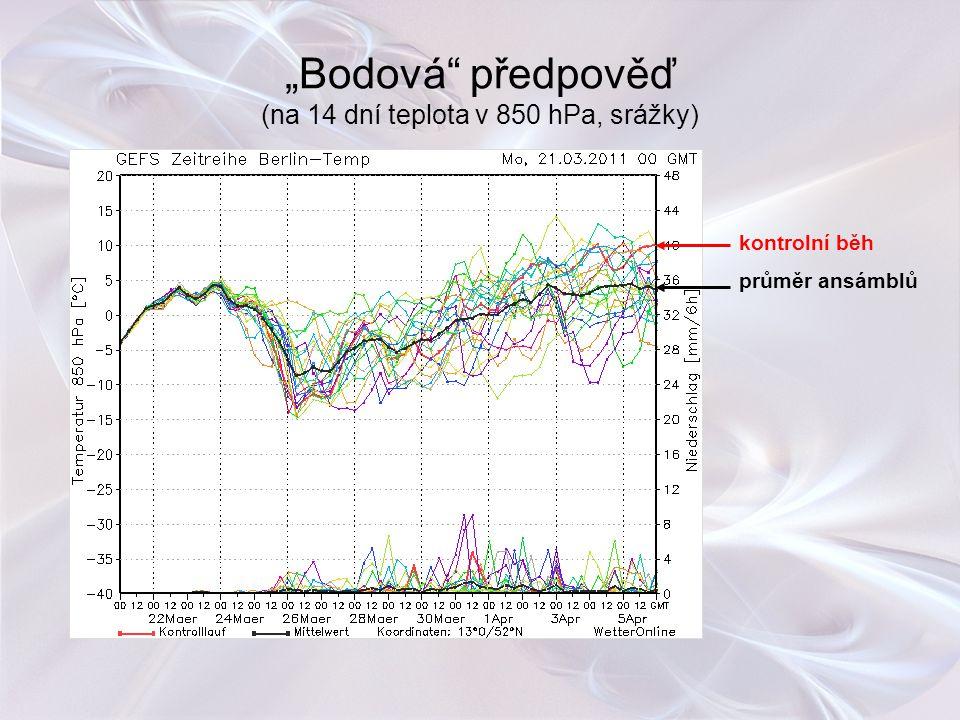 """""""Bodová"""" předpověď (na 14 dní teplota v 850 hPa, srážky) kontrolní běh průměr ansámblů"""