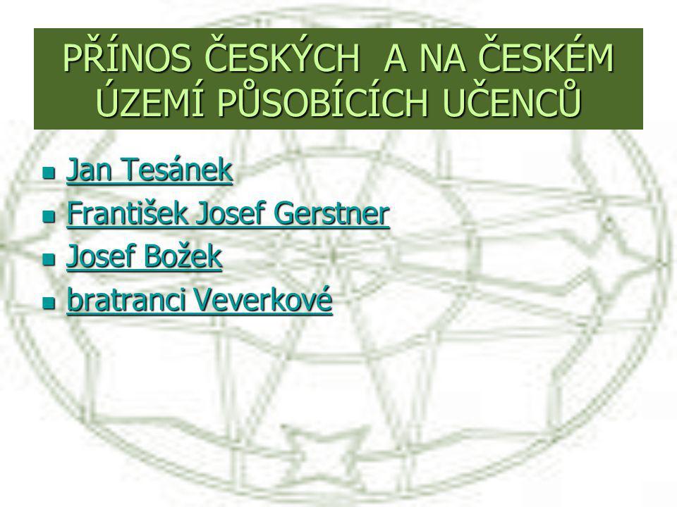 PŘÍNOS ČESKÝCH A NA ČESKÉM ÚZEMÍ PŮSOBÍCÍCH UČENCŮ Jan Tesánek Jan Tesánek Jan Tesánek Jan Tesánek František Josef Gerstner František Josef Gerstner F