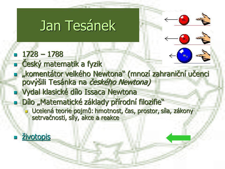 """Jan Tesánek 1728 – 1788 1728 – 1788 Český matematik a fyzik Český matematik a fyzik """"komentátor velkého Newtona"""" (mnozí zahraniční učenci povýšili Tes"""