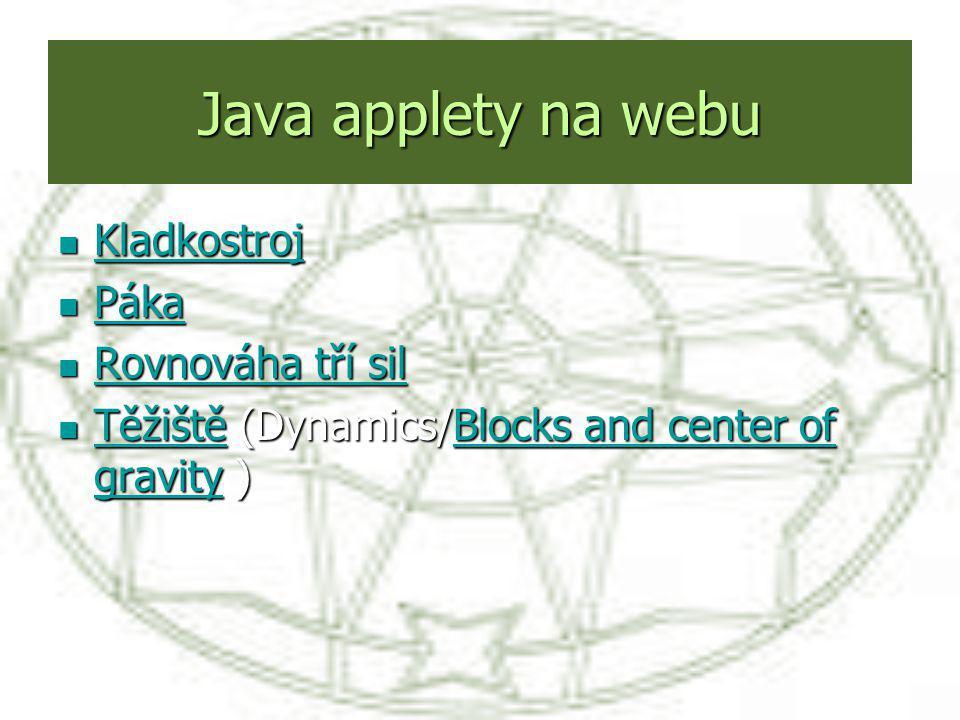 Java applety na webu Kladkostroj Kladkostroj Kladkostroj Páka Páka Páka Rovnováha tří sil Rovnováha tří sil Rovnováha tří sil Rovnováha tří sil Těžišt
