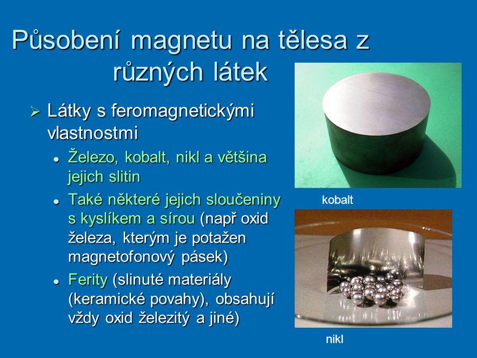 Působení magnetu na tělesa z různých látek  Látky s feromagnetickými vlastnostmi Železo, kobalt, nikl a většina jejich slitin Železo, kobalt, nikl a většina jejich slitin Také některé jejich sloučeniny s kyslíkem a sírou (např oxid železa, kterým je potažen magnetofonový pásek) Také některé jejich sloučeniny s kyslíkem a sírou (např oxid železa, kterým je potažen magnetofonový pásek) Ferity (slinuté materiály (keramické povahy), obsahují vždy oxid železitý a jiné) Ferity (slinuté materiály (keramické povahy), obsahují vždy oxid železitý a jiné) kobalt nikl