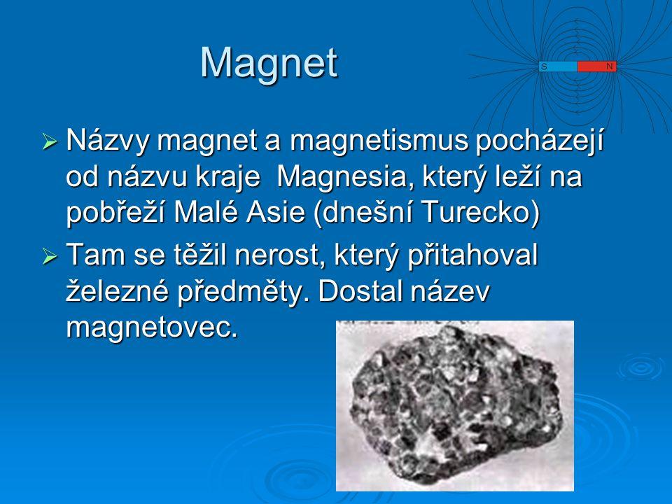 Magnet  Názvy magnet a magnetismus pocházejí od názvu kraje Magnesia, který leží na pobřeží Malé Asie (dnešní Turecko)  Tam se těžil nerost, který přitahoval železné předměty.