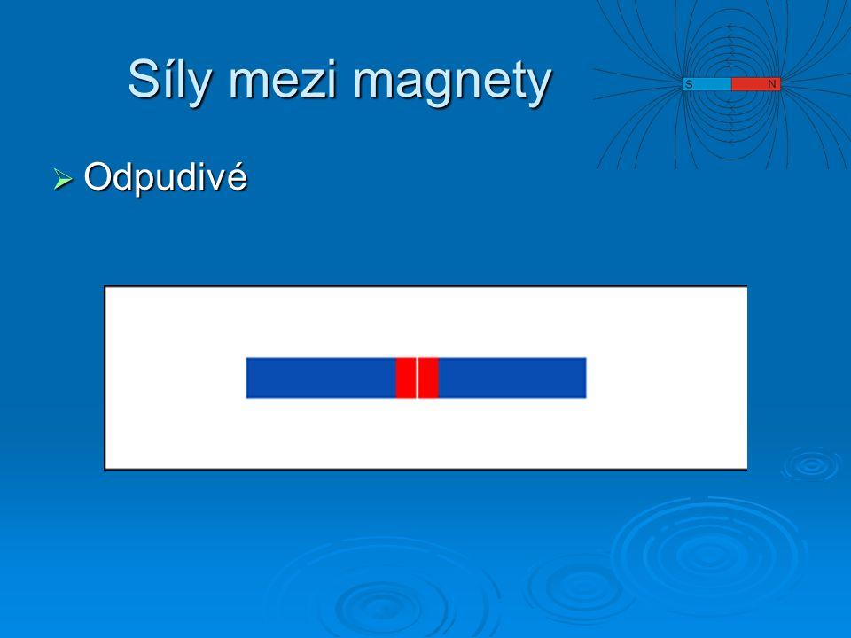 Pokusy  Magnetická síla ve vodě Umyvadlo s vodou Umyvadlo s vodou Dva magnety přiblížíme červenými konci k sobě Dva magnety přiblížíme červenými konci k sobě Ponoříme magnety v nezměněné poloze do vody Ponoříme magnety v nezměněné poloze do vody Změní se silové působení.