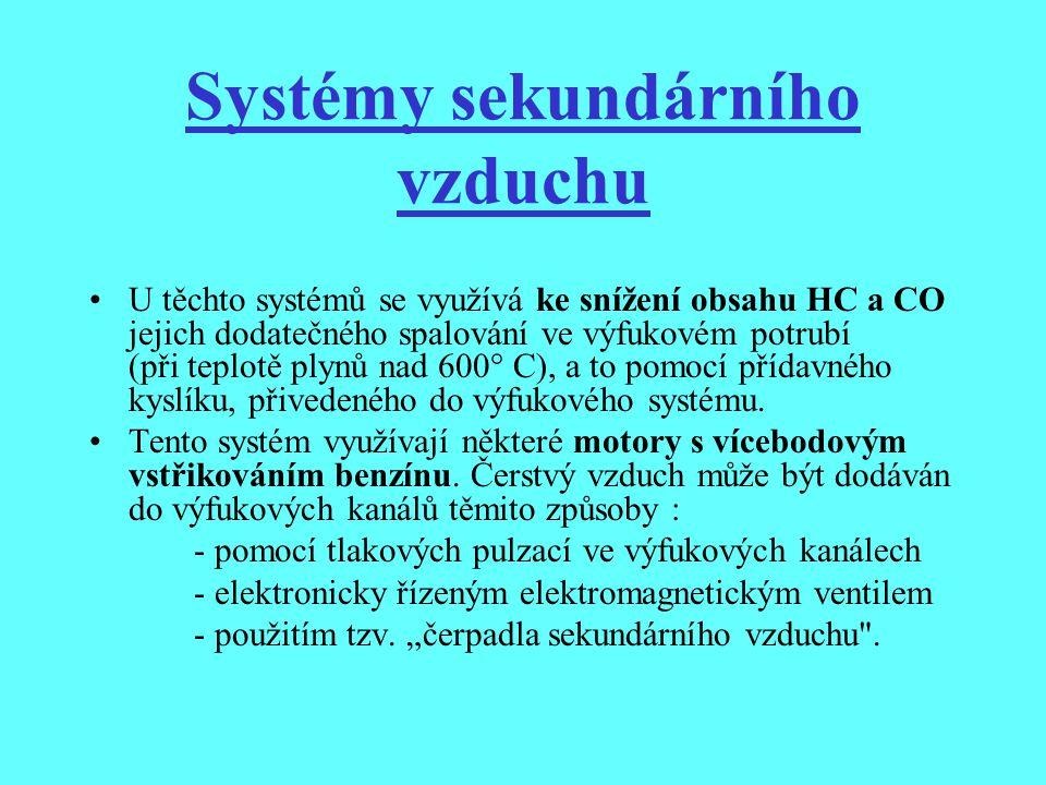 Systémy sekundárního vzduchu U těchto systémů se využívá ke snížení obsahu HC a CO jejich dodatečného spalování ve výfukovém potrubí (při teplotě plyn