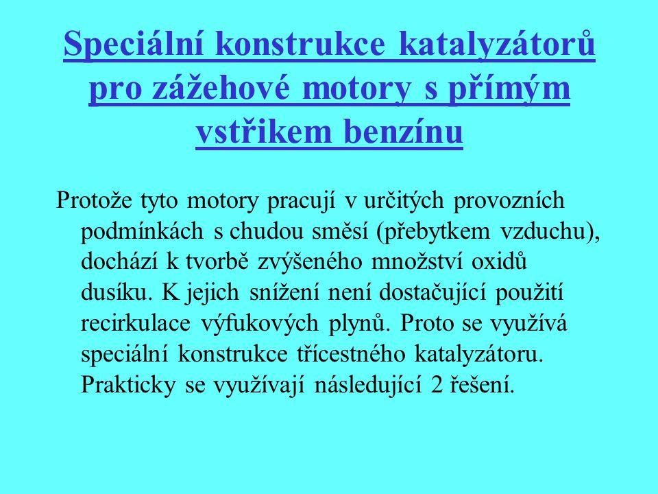 Speciální konstrukce katalyzátorů pro zážehové motory s přímým vstřikem benzínu Protože tyto motory pracují v určitých provozních podmínkách s chudou