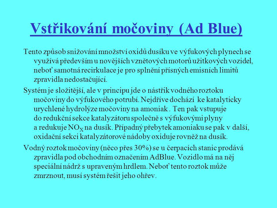 Vstřikování močoviny (Ad Blue) Tento způsob snižování množství oxidů dusíku ve výfukových plynech se využívá především u novějších vznětových motorů u