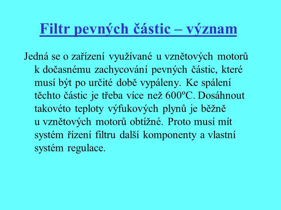 Filtr pevných částic – význam Jedná se o zařízení využívané u vznětových motorů k dočasnému zachycování pevných částic, které musí být po určité době