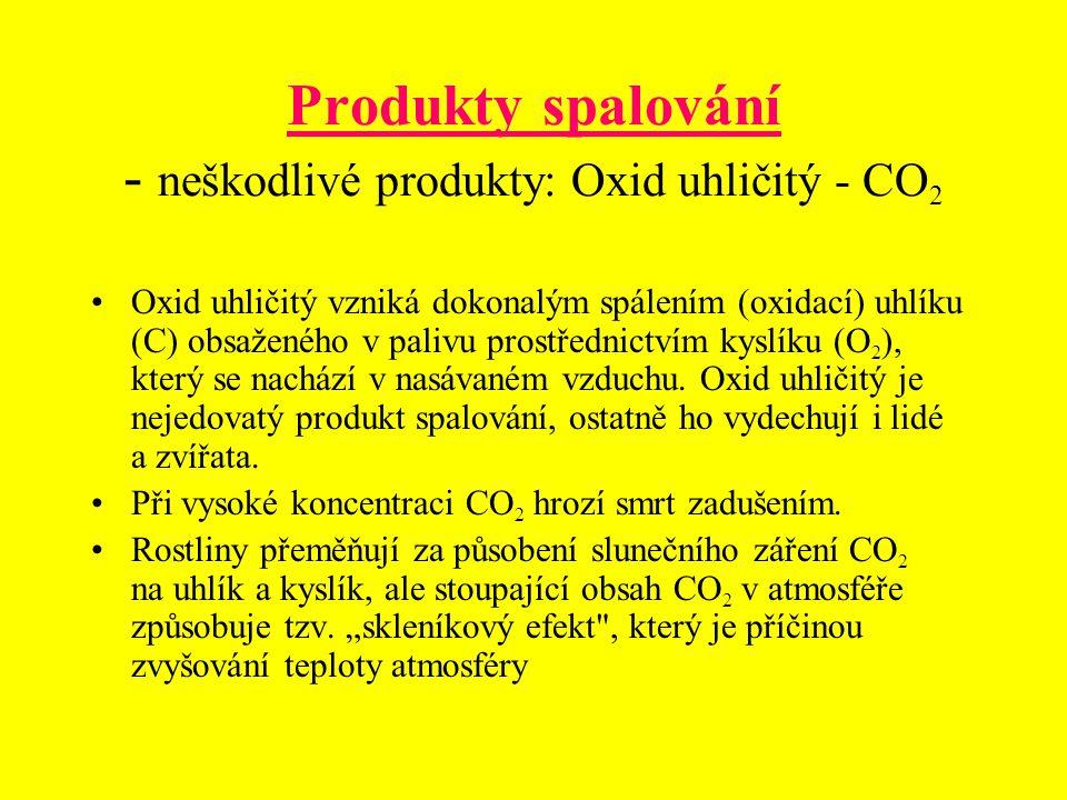 Produkty spalování - neškodlivé produkty: Oxid uhličitý - CO 2 Oxid uhličitý vzniká dokonalým spálením (oxidací) uhlíku (C) obsaženého v palivu prostř