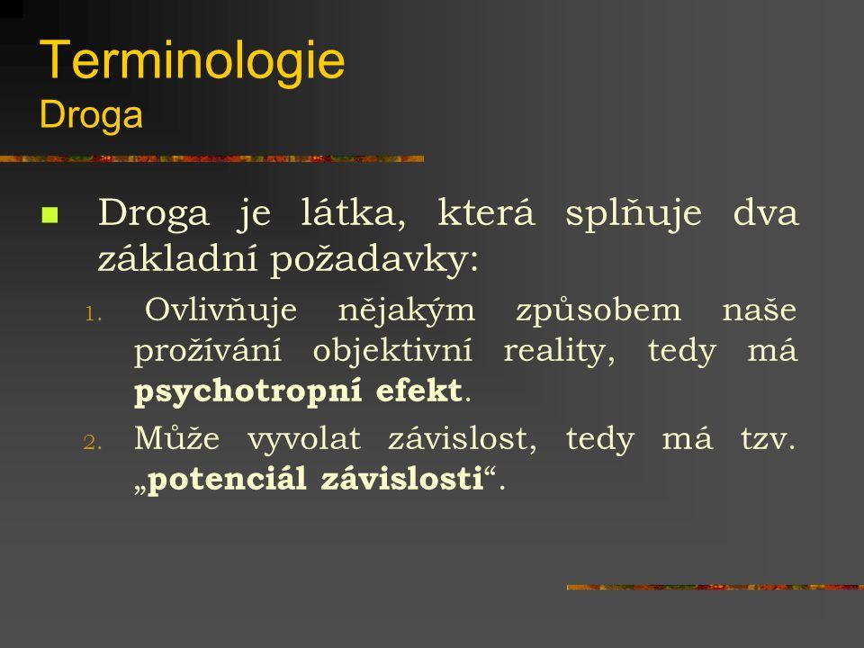 Terminologie Droga Droga je látka, která splňuje dva základní požadavky: 1. Ovlivňuje nějakým způsobem naše prožívání objektivní reality, tedy má psyc
