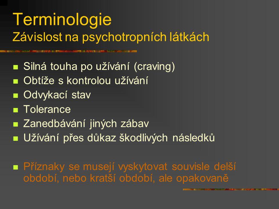 Terminologie Závislost na psychotropních látkách Silná touha po užívání (craving) Obtíže s kontrolou užívání Odvykací stav Tolerance Zanedbávání jinýc