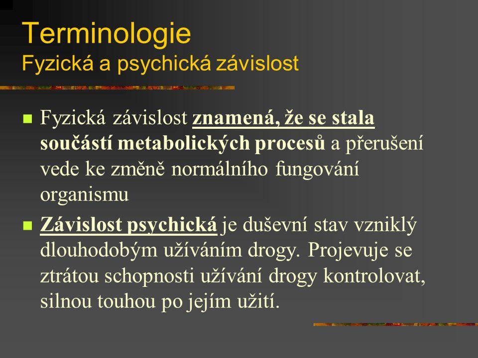 Terminologie Fyzická a psychická závislost Fyzická závislost znamená, že se stala součástí metabolických procesů a přerušení vede ke změně normálního