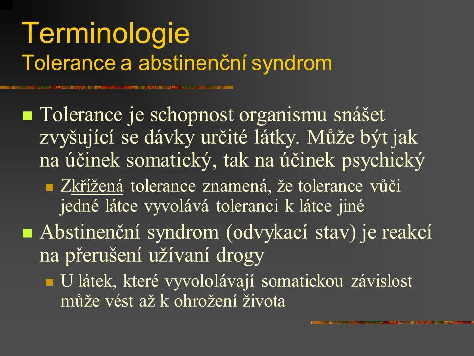 Terminologie Tolerance a abstinenční syndrom Tolerance je schopnost organismu snášet zvyšující se dávky určité látky. Může být jak na účinek somatický