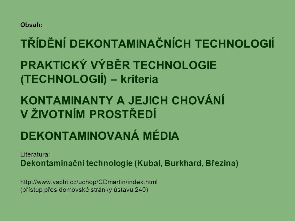 Obsah: TŘÍDĚNÍ DEKONTAMINAČNÍCH TECHNOLOGIÍ PRAKTICKÝ VÝBĚR TECHNOLOGIE (TECHNOLOGIÍ) – kriteria KONTAMINANTY A JEJICH CHOVÁNÍ V ŽIVOTNÍM PROSTŘEDÍ DE