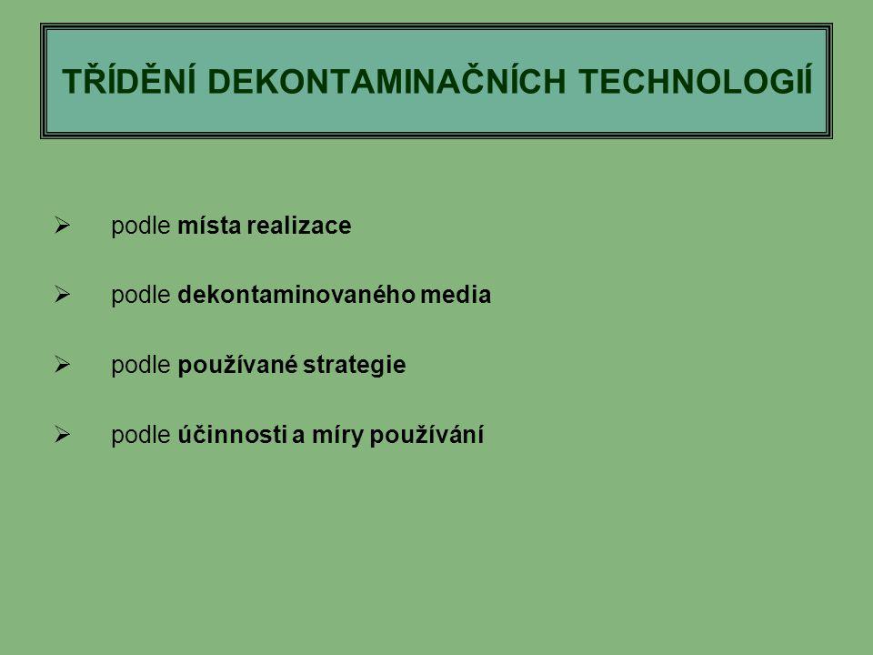 TŘÍDĚNÍ DEKONTAMINAČNÍCH TECHNOLOGIÍ  podle místa realizace  podle dekontaminovaného media  podle používané strategie  podle účinnosti a míry použ