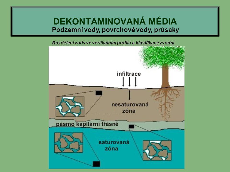 DEKONTAMINOVANÁ MÉDIA Podzemní vody, povrchové vody, průsaky Rozdělení vody ve vertikálním profilu a klasifikace zvodní