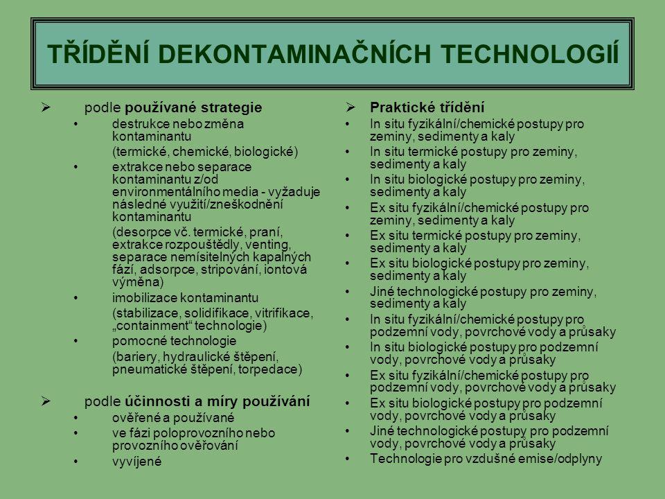 TŘÍDĚNÍ DEKONTAMINAČNÍCH TECHNOLOGIÍ  podle používané strategie destrukce nebo změna kontaminantu (termické, chemické, biologické) extrakce nebo sepa