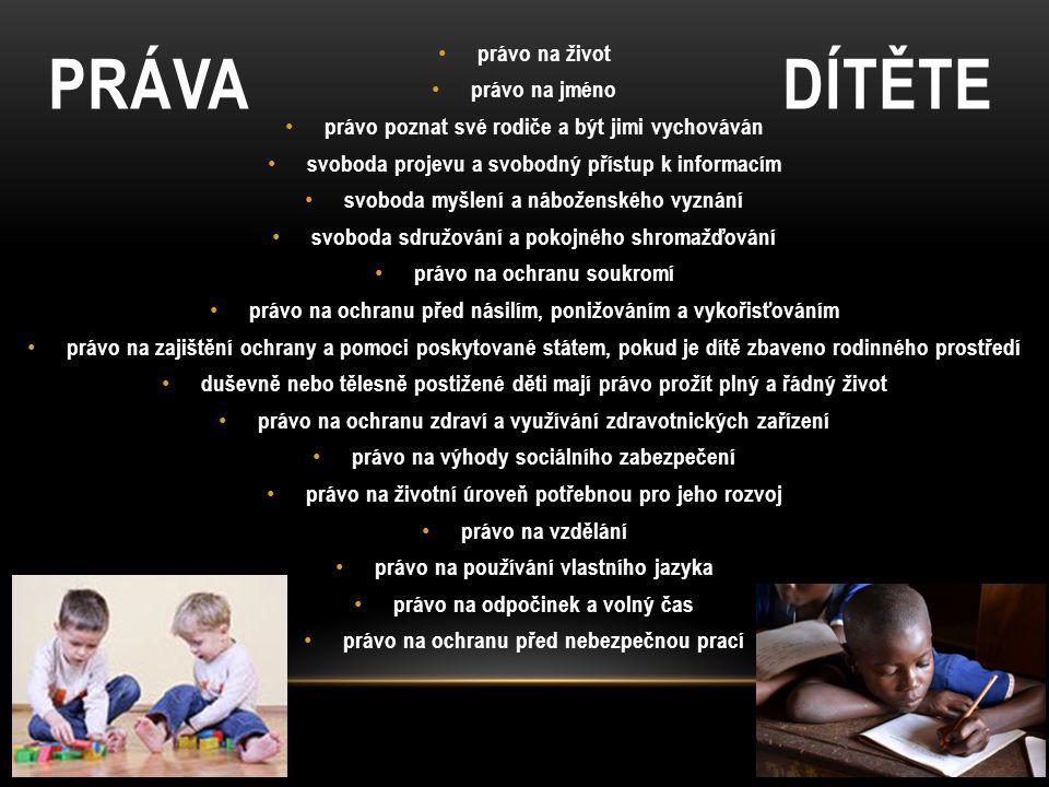 PRÁVA DÍTĚTE právo na život právo na jméno právo poznat své rodiče a být jimi vychováván svoboda projevu a svobodný přístup k informacím svoboda myšle