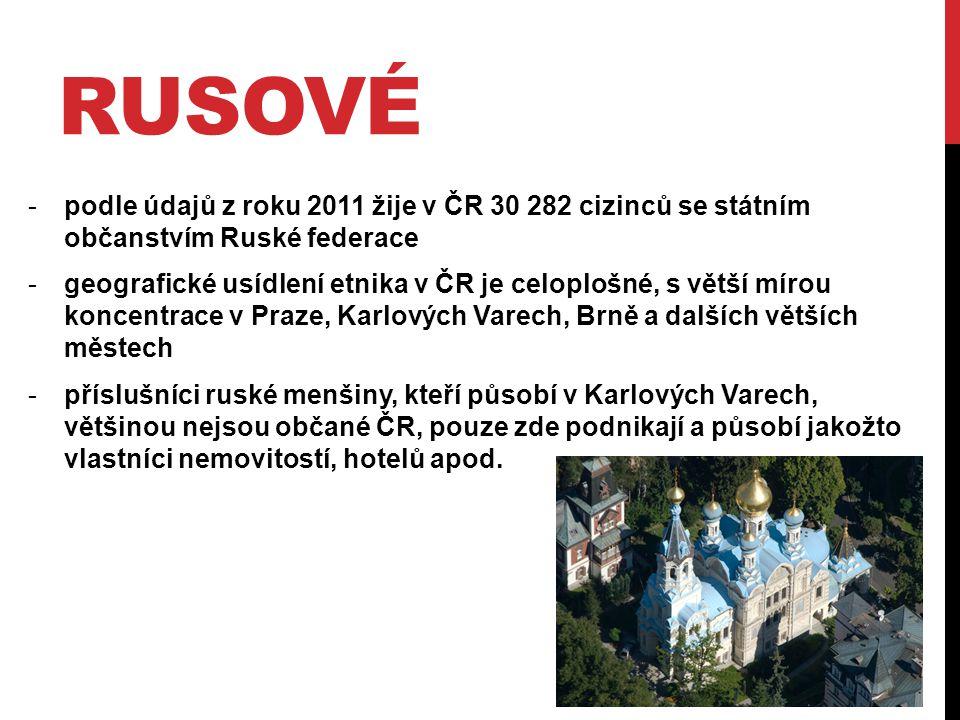 RUSOVÉ -podle údajů z roku 2011 žije v ČR 30 282 cizinců se státním občanstvím Ruské federace -geografické usídlení etnika v ČR je celoplošné, s větší