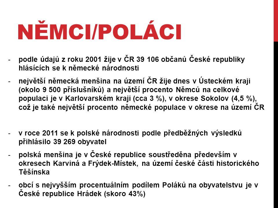 NĚMCI/POLÁCI -podle údajů z roku 2001 žije v ČR 39 106 občanů České republiky hlásících se k německé národnosti -největší německá menšina na území ČR
