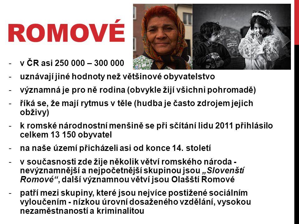 ROMOVÉ -v ČR asi 250 000 – 300 000 -uznávají jiné hodnoty než většinové obyvatelstvo -významná je pro ně rodina (obvykle žijí všichni pohromadě) -říká